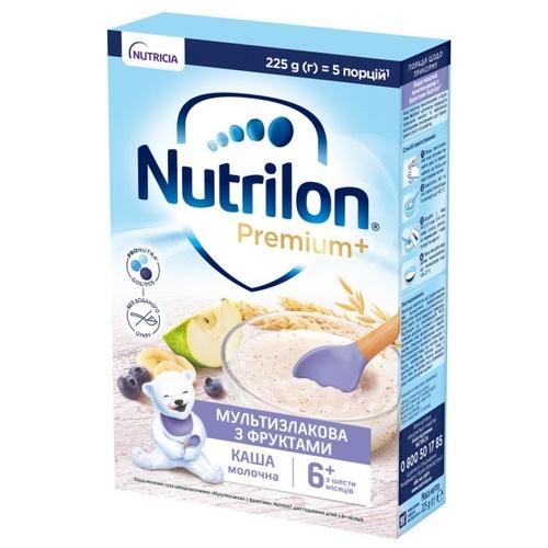 НУТРИЛОН Каша молочная сухая быстрорастворимая мультизлаковая с фруктами 225г - фото 1 | Сеть аптек Viridis