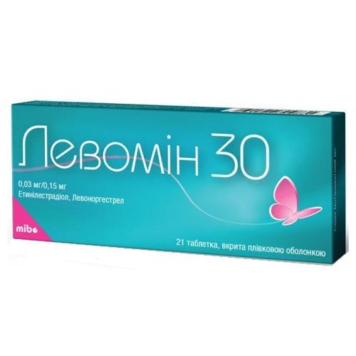 ЛЕВОМІН 30 ТАБ. 0.03МГ/0.15МГ №21 - фото 1 | Сеть аптек Viridis