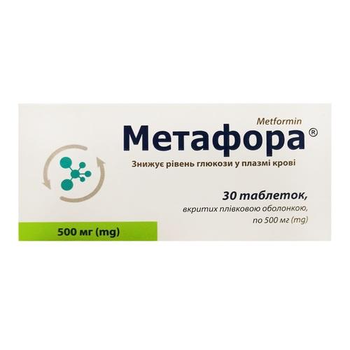МЕТАФОРА ТАБ. 500МГ №30 - фото 1   Сеть аптек Viridis