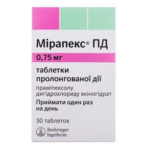 МИРАПЕКС ПД ТАБ. 0,75МГ №30