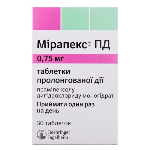 МИРАПЕКС ПД ТАБ. 0,75МГ №30 - фото 1 | Сеть аптек Viridis