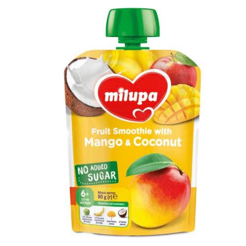 МІЛУПА Пюре фруктове Яблуко, банан, манго та кокос з 6 місяців 80г - фото 1 | Сеть аптек Viridis