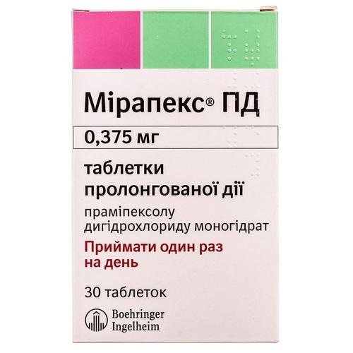 МИРАПЕКС ПД ТАБ. 0,375МГ №30 - фото 1 | Сеть аптек Viridis