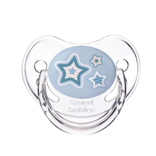 КАНПОЛ Пустушка силіконова анатомічна 0-6 міс. Newborn baby сині зірки - фото 1 | Сеть аптек Viridis