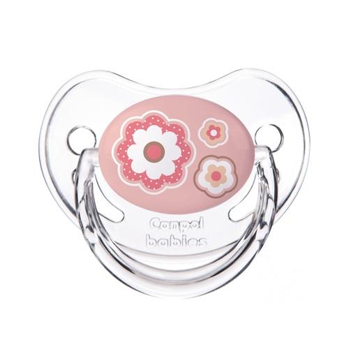 КАНПОЛ Пустушка силіконова анатомічна 0-6 міс. Newborn baby рожеві квіти - фото 1   Сеть аптек Viridis