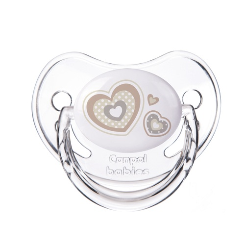 КАНПОЛ Пустышка силиконовая анатомическая 18+ мес. Newborn baby бежевые сердца - фото 1 | Сеть аптек Viridis
