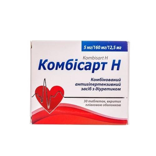 КОМБИСАРТ Н ТАБ. 5/160/12,5МГ №30 - фото 1 | Сеть аптек Viridis