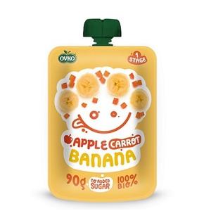 ОВКО Пюре органическое Яблоко-морковь-банан 90г