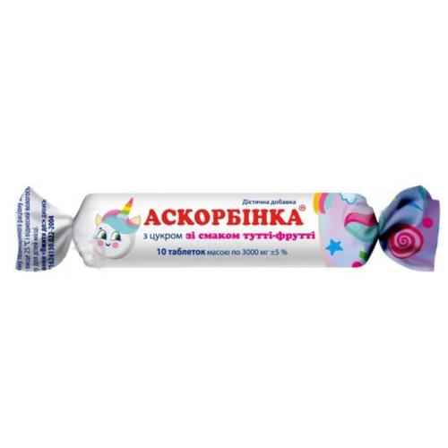 АСКОРБІНКА-КВ ТУТТІ-ФРУТТІ ТАБ. 25МГ №10 без ндс - фото 1 | Сеть аптек Viridis