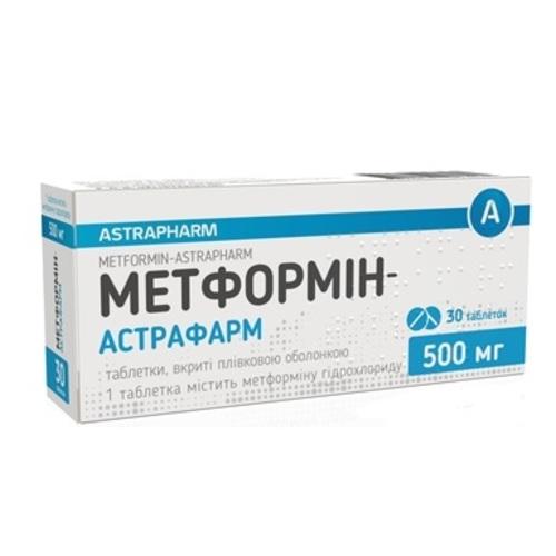 МЕТФОРМИН-АСТРАФАРМ ТАБ. 500МГ №30 - фото 1 | Сеть аптек Viridis