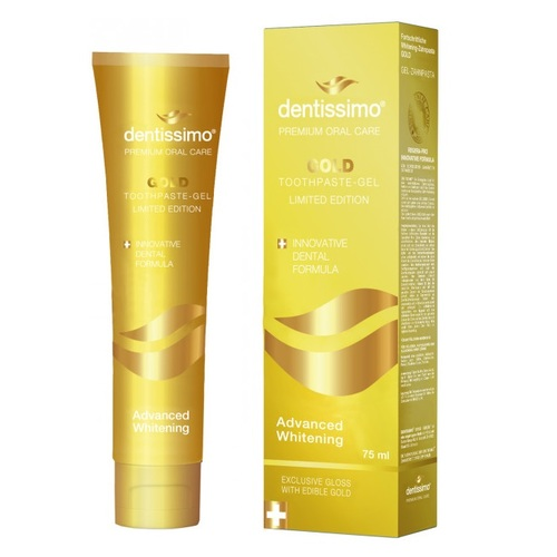 ДЕНТИССИМО Зубная паста-гель отбеливающая Gold 75мл - фото 1 | Сеть аптек Viridis