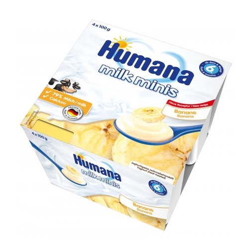 ХУМАНА Продукт кисломолочний з бананом і натур. пребіотиками 400г (4*100г) - фото 1 | Сеть аптек Viridis