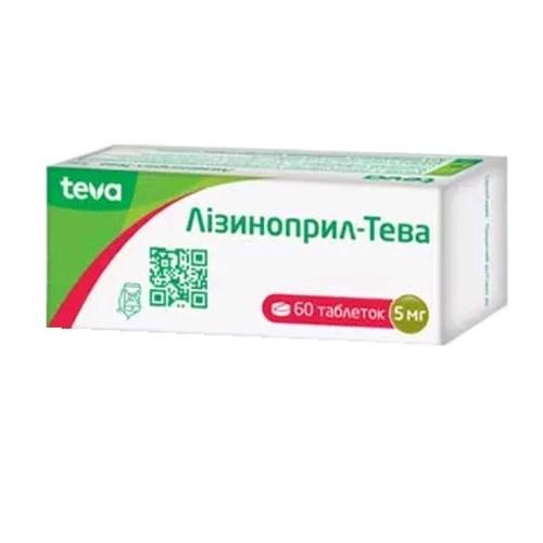 ЛИЗИНОПРИЛ-ТЕВА ТАБ. 5МГ №60 - фото 1 | Сеть аптек Viridis
