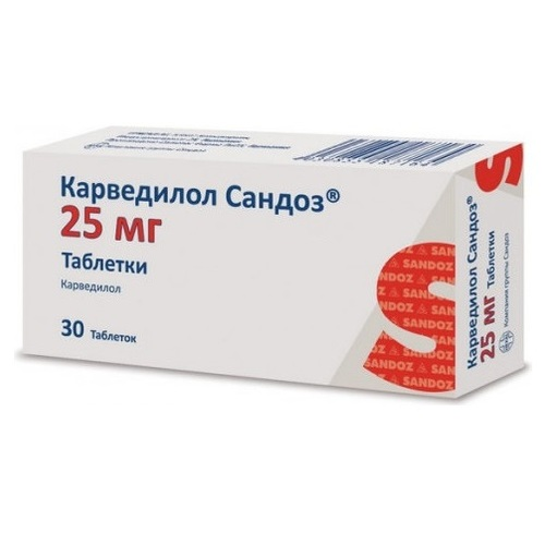 КАРВЕДИЛОЛ САНДОЗ ТАБ. 25МГ №30 - фото 1 | Сеть аптек Viridis