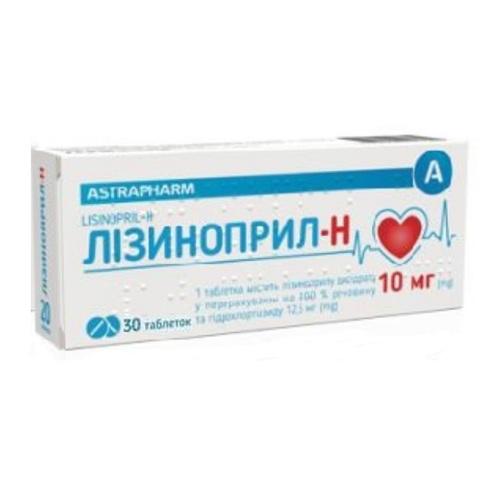 ЛИЗИНОПРИЛ-Н ТАБ. 10МГ/12,5МГ №30 - фото 1 | Сеть аптек Viridis