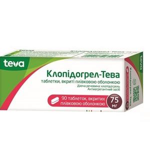 КЛОПІДОГРЕЛ-ТЕВА ТАБ. 75МГ №90