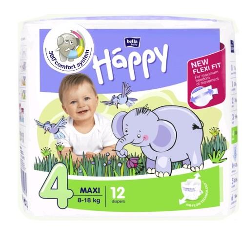 БЕЛЛА Подгузники д/дет. Baby Happy Maxi (8-18кг) 12шт - фото 1 | Сеть аптек Viridis