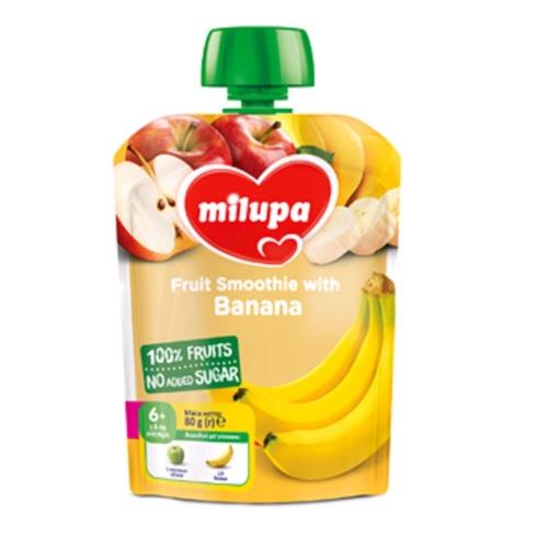 МИЛУПА Пюре фруктовое Яблоко и банан с 6 месяцев 80г - фото 1 | Сеть аптек Viridis