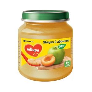 МИЛУПА Пюре фруктовое Яблоко и абрикос с 6 месяцев 125г