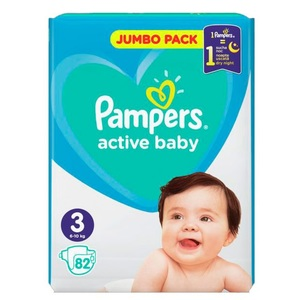ПАМПЕРС Дет. подгуз. Act. baby Midi (6-10 кг) Джамбо №82