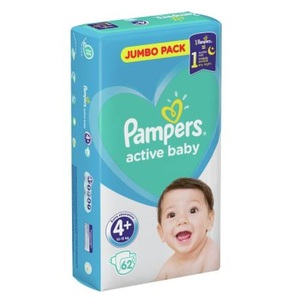 ПАМПЕРС Дет. подгуз. Act. baby Maxi Plus (10-15кг) Джамбо №62