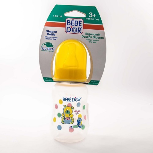 БЕБЕ ДОР Бутылочка стеклянная с рисунком силикон.соска,средн.поток,125мл(30302)