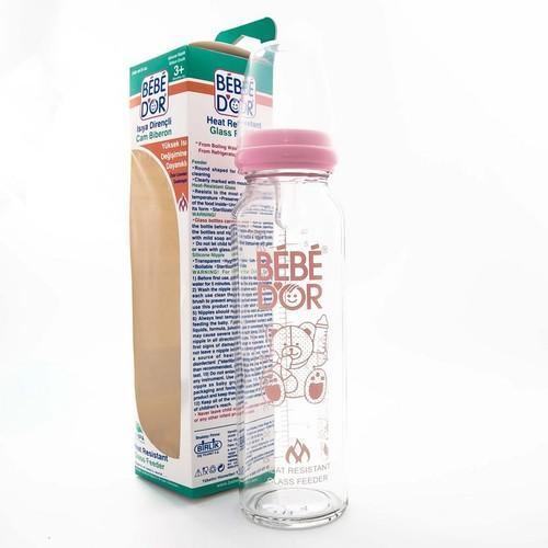 БЕБЕ ДОР Бутылочка стеклянная жаростойкая силикон.соска, средн.поток,250мл.(41302)