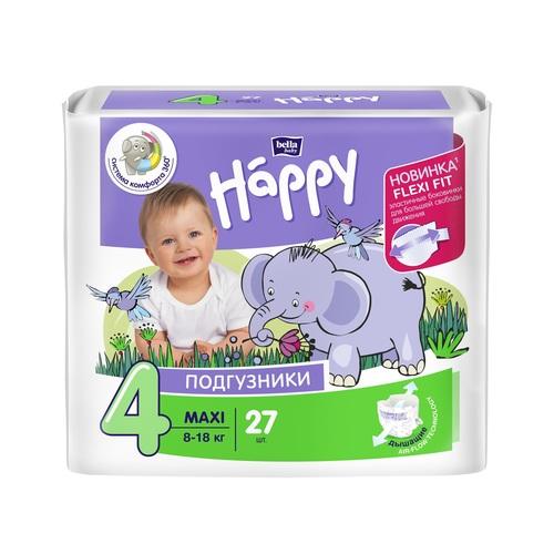 БЕЛЛА Подгузники д/дет. Baby Happy Maxi (8-18кг) 27шт - фото 1 | Сеть аптек Viridis
