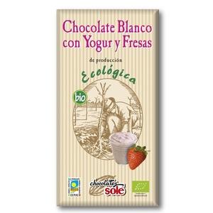Соле Шоколад білий органичний з йогуртом та полуницею 100 гр