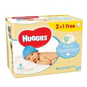 Хаггіс серветки. дит. Pure 2 + 1 (56 * 3) 168шт.