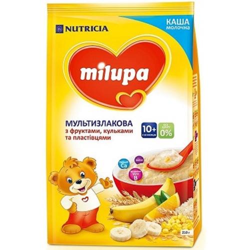 МІЛУПА Каша молочна  мультизлакова з фруктами, пластівцями та кульками з 10міс. 210г