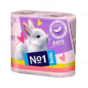 БЕЛЛА Бумага туалетная KARO розовая 4 рулона