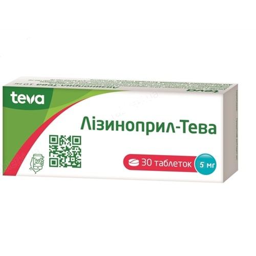 ЛІЗИНОПРИЛ-ТЕВА ТАБ. 5МГ №30 - фото 1 | Сеть аптек Viridis