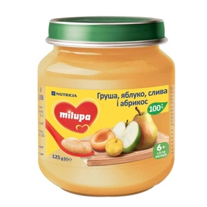 МИЛУПА Пюре фруктовое Яблоко, груша, слива и абрикос с 6 месяцев 125г