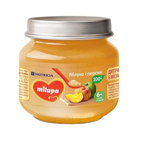 МИЛУПА Пюре фруктовое Яблуко и Персик 100г - фото 1 | Сеть аптек Viridis