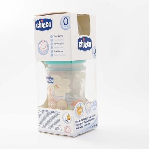 Chicco Бутылка пластик.,150мл., для мал.-соска сил.норм.поток,(0м+)