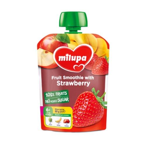 МІЛУПА Пюре фруктове Яблуко, банан та полуниця з 6 місяців 80г - фото 1 | Сеть аптек Viridis