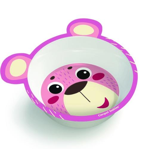 КАНПОЛ Тарелка из меламина на присоске с ушками розовая Hello Little - фото 1 | Сеть аптек Viridis