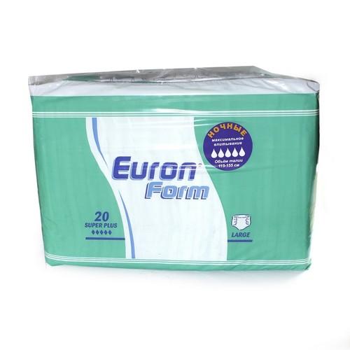 EURON FORM  Super Plus Large  -  підгузники для дорослих (талія 115-155 см.1950мл.) 20 шт. купить в Броварах