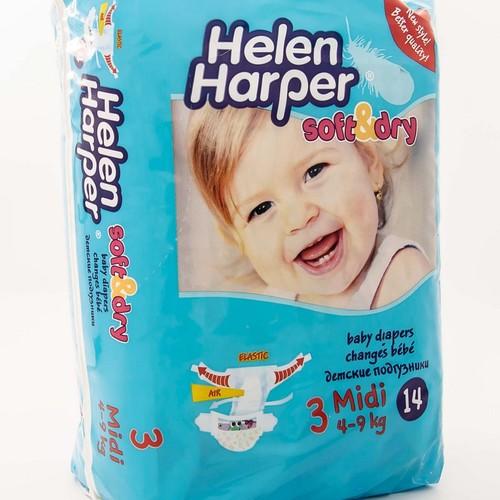 HELEN HARPER SOFT& DRY Midi  - підгузники для дітей (вага 4-9 кг.)  економ класу 14 шт.