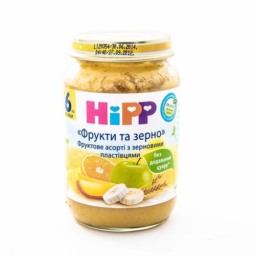 ХИПП Пюре фруктовое ассорти с зерновыми хлопьями Фрукты и зерно,190г купить в Ирпене