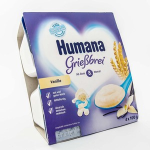 ХУМАНА Пудинг манный с ванилью для пит. детей от 8 мес. и старше 400г (4 * 100г)