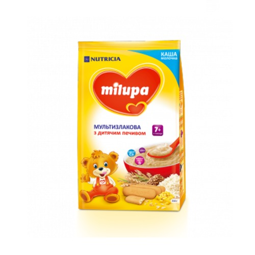 МІЛУПА Каша молочна мультизлакова з дитячим печивом 7 міс. 210г купити в Ирпене