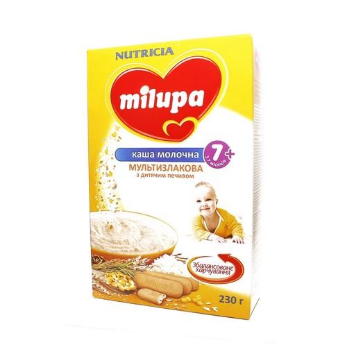 МИЛУПА Каша молочная сухая быстрорастворимая мультизлаковая с детским печеньем 7 мес. 230г купить в Славутиче