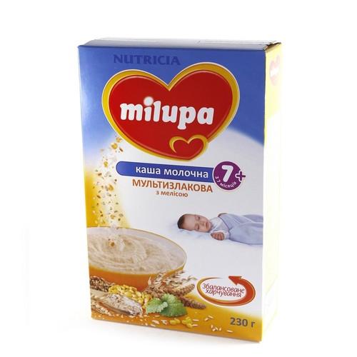 МИЛУПА Каша молочная сухая быстрорастворимая мультизлаковая с мелиссой с 7 мес. 230г - фото 1 | Сеть аптек Viridis