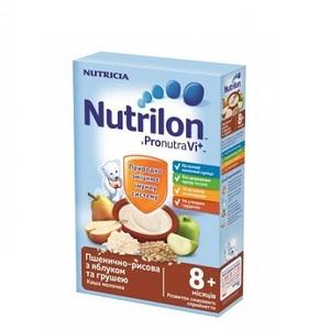 Нутрілон Каша молочна швидкорозчинна пшенично-рисова з яблуком і грушею з 8 міс. 225г