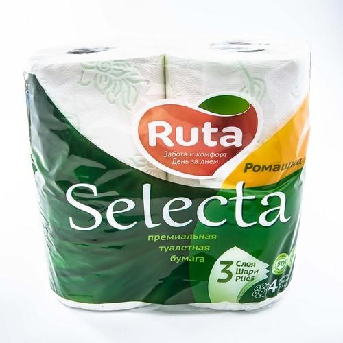 РУТА т/папір Selecta 3-х сл. білий 4 шт Ромашка купить в Житомире