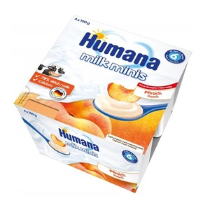 ХУМАНА Продукт кисломолочный с персиком и натур. пребиотикамы 400г (4 * 100г)