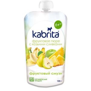 КАБРИТА Пюре фруктовое с козьими сливками Фруктовый смузи с 6 мес. 100г