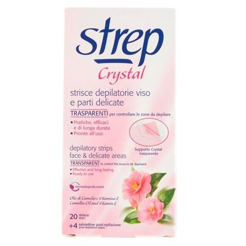 СТРЕП Воскові смужки для обличчя та лінії бікіні STREP «CRYSTAL» Масло камелії і вітамін Е 20шт - фото 1 | Сеть аптек Viridis
